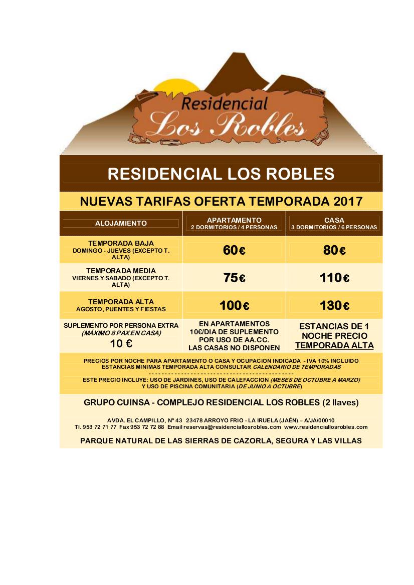 tarifas residencial los robles